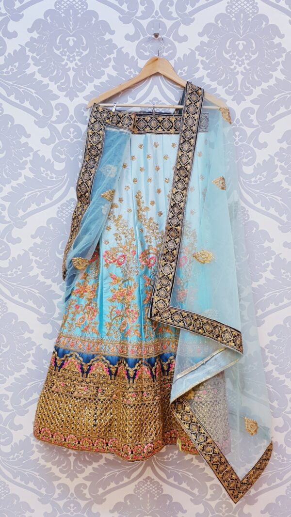 Embroidered blue lehenga with dupatta