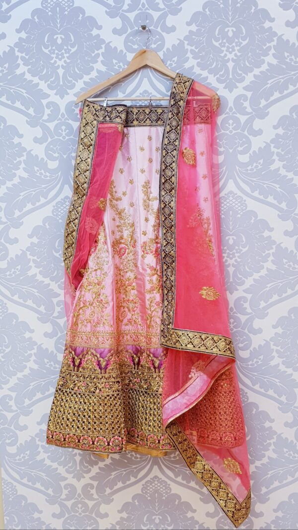 Pink/purple lehenga with embroidery