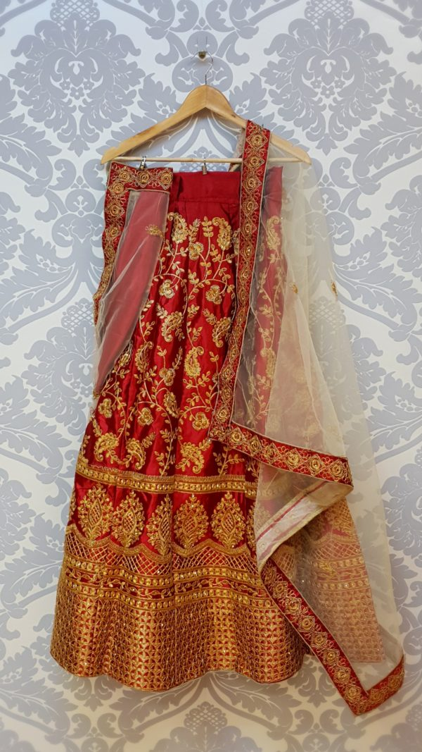 Red lehenga with dupatta