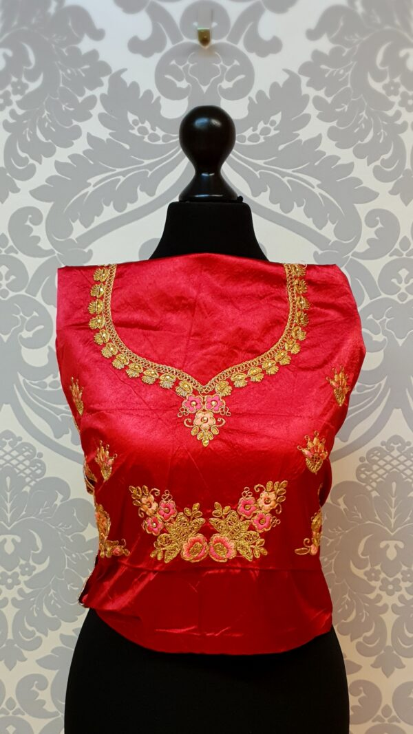 Coral colour lehenga blouse