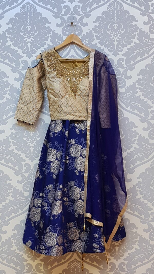 Blue Lehenga with cut out shoulder