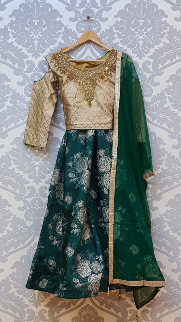 Green lehenga with cut out shoulder