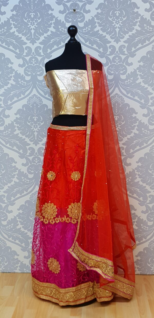 Bicolour lehenga with embroidery