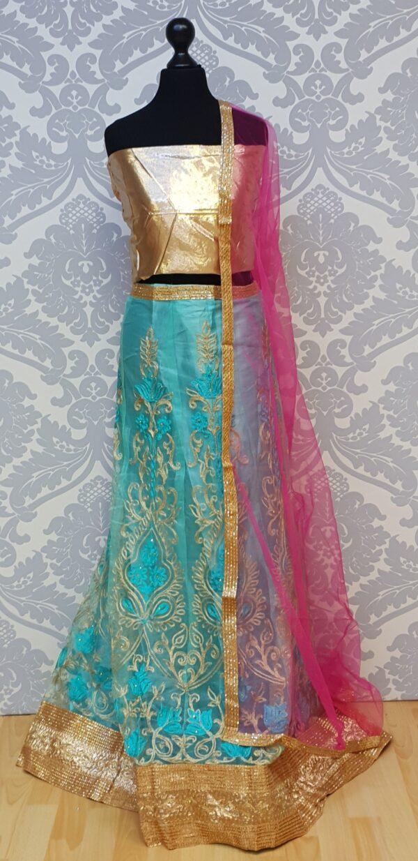 Mint lehenga with embroidery