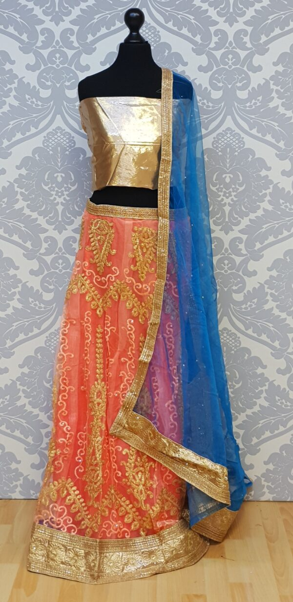 Coral/pink lehenga with embroidery