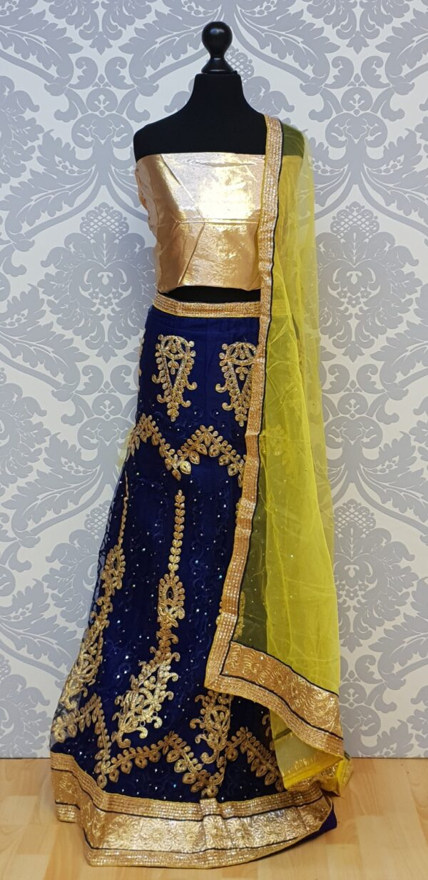 Blue lehenga with embroidery