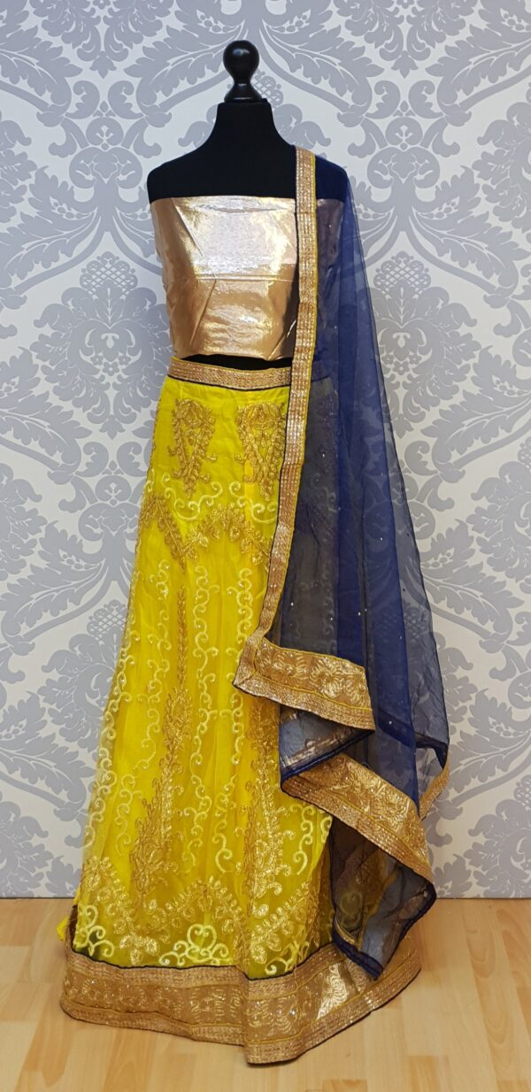 Yellow lehenga with embroidery