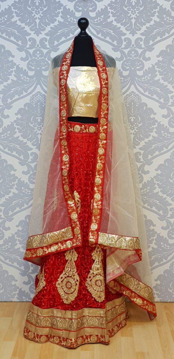 Red lehenga with embroidery