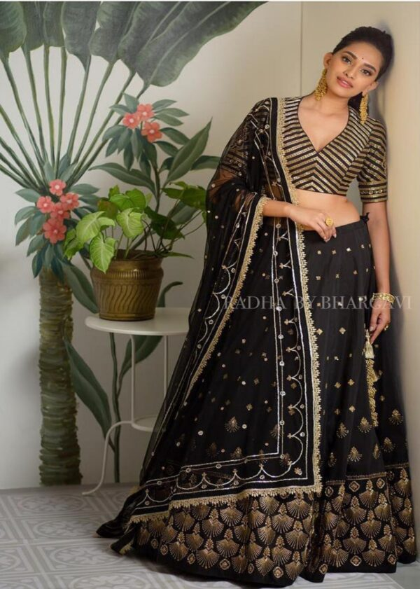 Black/gold lehenga with dupatta