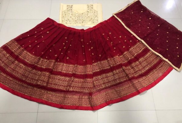 Georgette lehenga with embroidered work