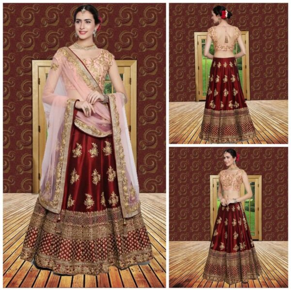Red lehenga with heavy cording embroidery