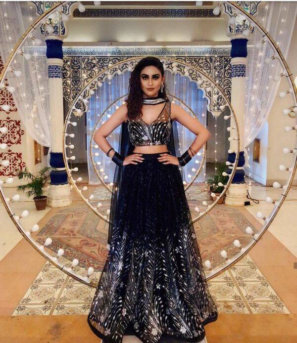 Dark blue lehenga with dupatta
