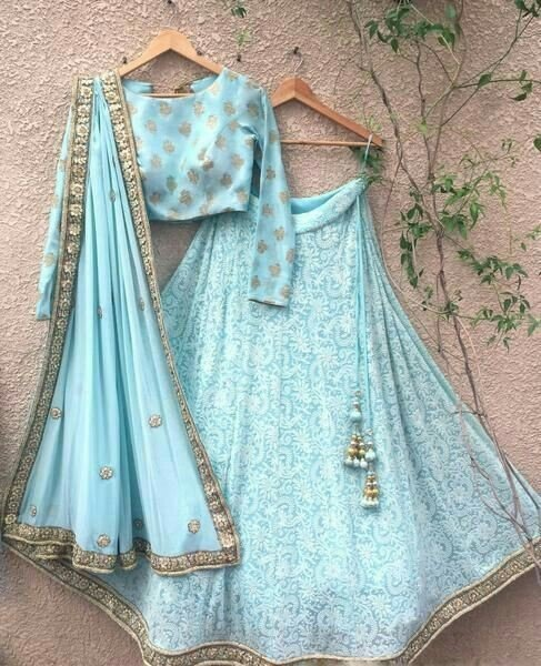 Blue lehenga with dupatta