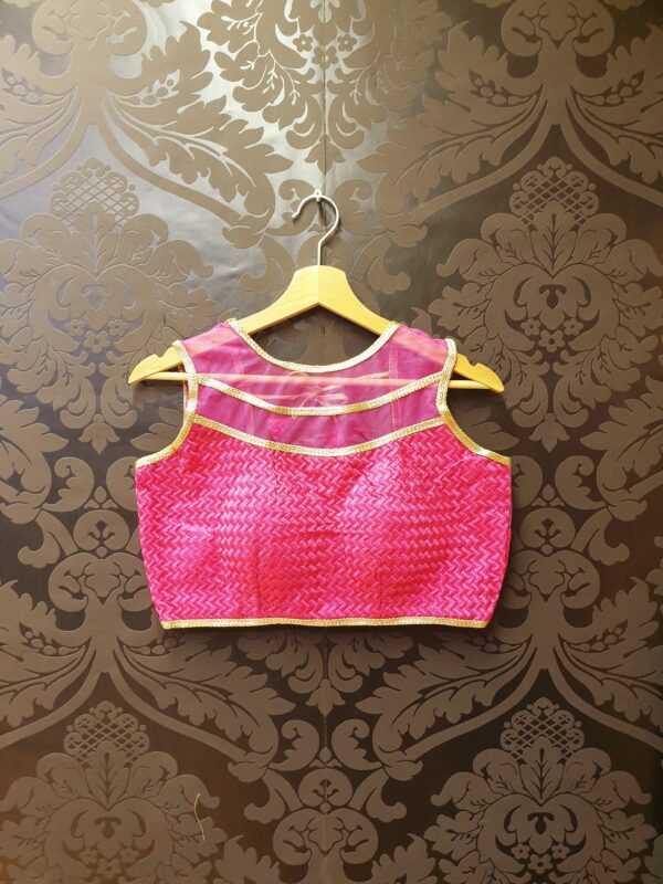 Saree blouse with net neck
