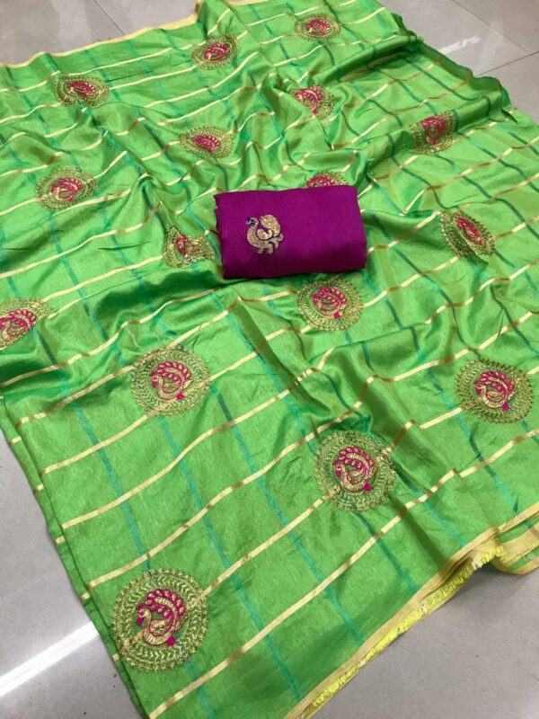 Checked saree with peacock