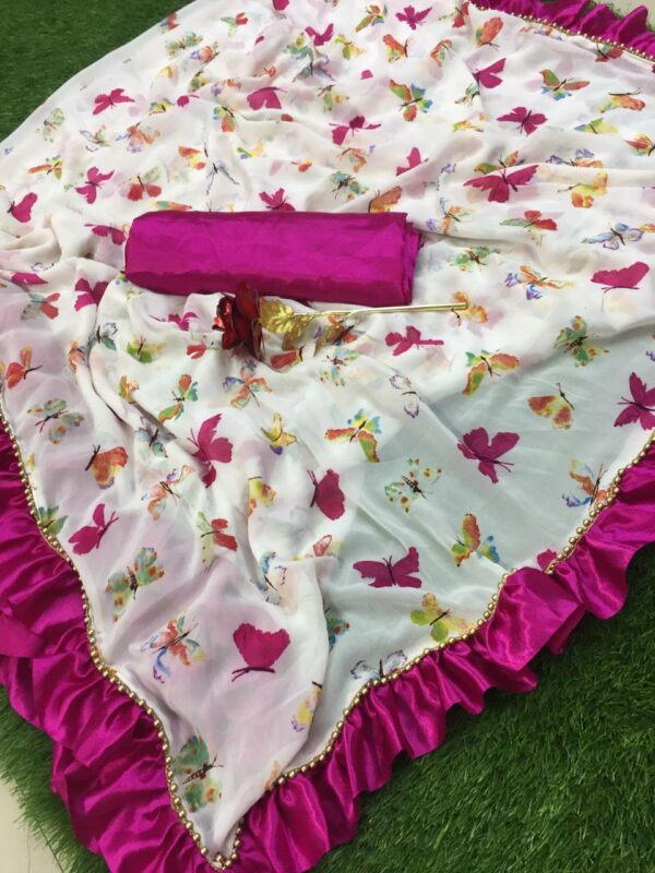 Butterfly printed saree