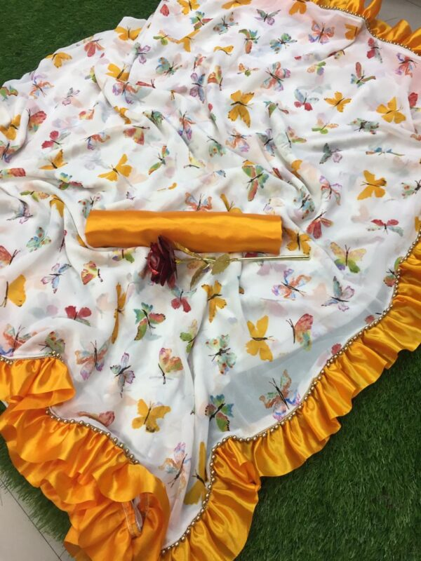Printed butterfly saree