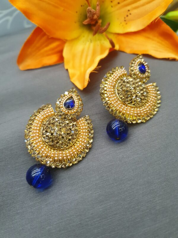 Beaded earring with stone work